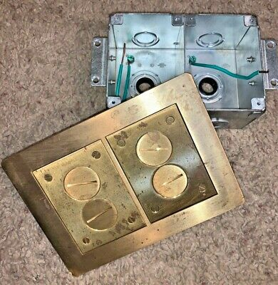 HUBBELL SYSTEMS SB3084W BRASS 2-GANG FLOOR BOX, CARPET FLANGE, Brass caps