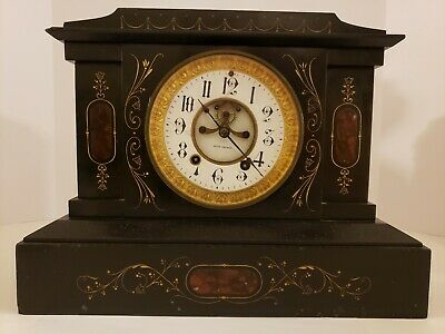 Antique Working 1800's SETH THOMAS Victorian Marble Open Escapement Mantel Clock