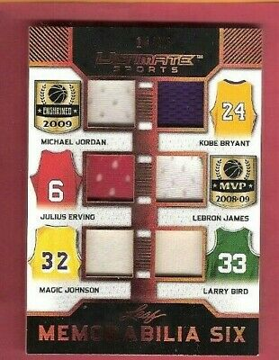 Kobe Bryant Michael Jordan Lebron James Dr J Bird Magic Johnson Jersey Card Leaf