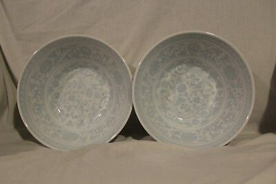 2 Vintage Blue White Asian Japanese Chinese Soup Bowls