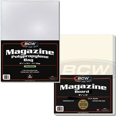 "10 Bags Boards Combo Resealable Magazine Sleeves Backer Lot BCW 8 1/2"" x 11 1/8"""