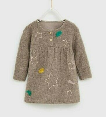 NWT Zara baby girls 18-24 months dress long sleeve brown star tassels