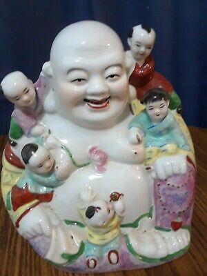 """Chinese Porcelain Happy Laughing Buddha w/ Children Figure Statue 8.25"""""""