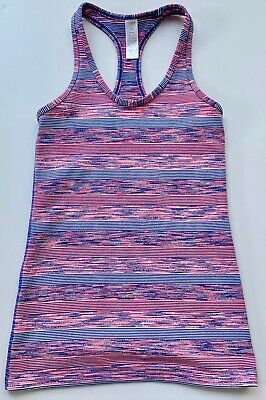 ivivva girls pink, navy and white striped  racerback vest top - Size 12