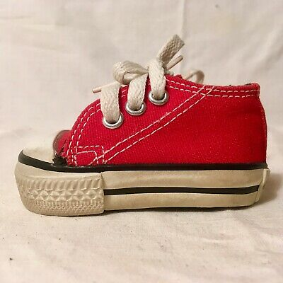 Vintage Pair of Red Baby Converse Shoes Made in USA Sz 1