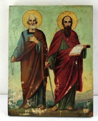 ANTIQUE RUSSIAN ORTHODOX RELIGIOUS ICON of Holy Apostles Peter and Paul