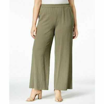 JM Collection Women's Textured Wide Leg Pants 2 Pockets, Olive Spring, Size 1X