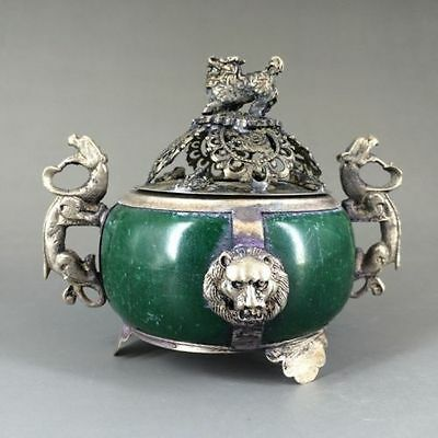 EXQUISITE Delicate Chinese Decorated Old Jade& Tibet Silver Incense Burner RT31