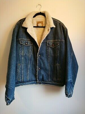 Men's GAP Blue Denim Sherpa Lined Trucker Jacket Size L Large Oversized Borg