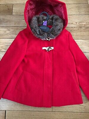 TU Toddler Girls Red Bow Cape Coat Jacket Hood Hooded Fur Collar 3-4 Years