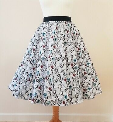 1950s Circle Skirt Skulls And Roses All Sizes Rockabilly Pin Up Goth Dress 2