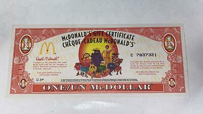 McDonald's Canada Gift Certificate 2002 ONE/UN McDOLLAR Rare !! Mint Condition !