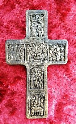 Russian Orthodox 19th century Old Brass Double-sided Cross with biblical scenes