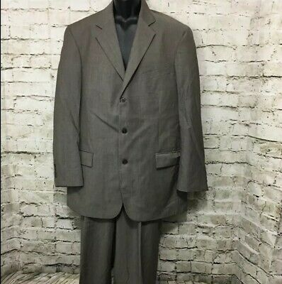 Nautica Mens Sz 42L 36w 2 Piece 3 Button Brown Gray Twill Blazer And Pants Suit