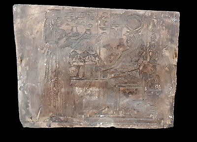 Rare Egyptian Relief Craft Isis Hathor Antique Plaque Stela Hieroglyphic Wall