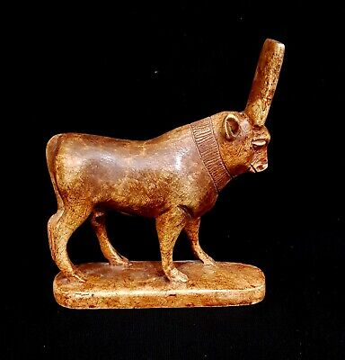 Egyptian Antiques Amulet Cattle Figurine Apis Bull Faience Symbol Of Fertility