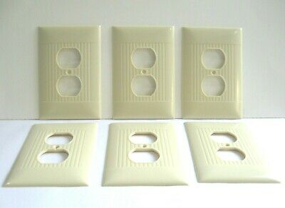 Vintage lot of 6 matching Sierra Electric Outlet Cover Plates Bakelite Ribbed