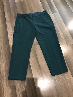Old Navy Hunter Green Cropped Harper Trousers Womens Size 12 New