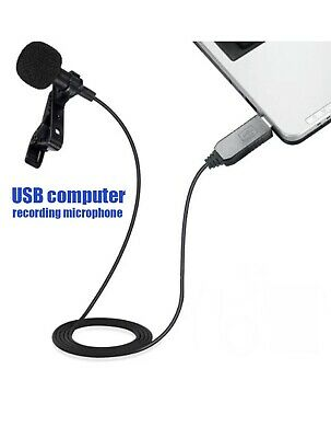 USB Mini Clip On Ominodirectional Microphone Mic For Computer Lapel Tie