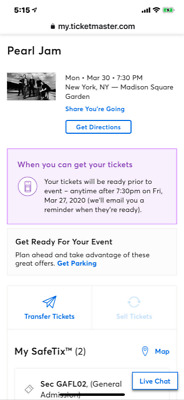 SAVE- 1 Pearl Jam General Admission Pit Tickets. MSG March 30 SAVE HUNDREDS