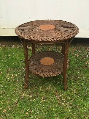 Antique Wicker Natural Two Tiered Round Table 1930'S - 40 'S