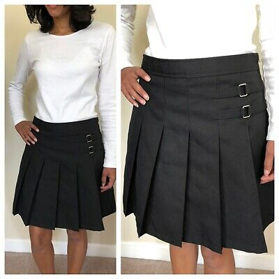 French Toast Girls School Uniform Skirt Skort Pleated Scooter Size 14 Black EUC!