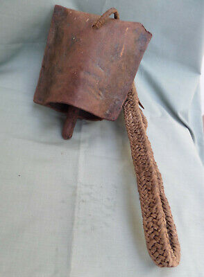 Vintage Iron Cow Bell Hand Made Braided Leather Neck Strap Maasai