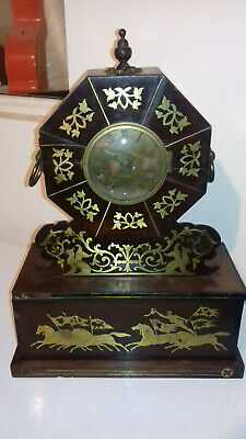 vintage brass inlaid A.Leroux large clock 19 inches high