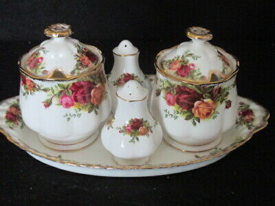 Royal Albert Old Country Roses 2 X Preserve Pots Salt & Pepper  On Oval Tray 1St