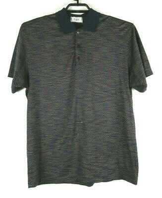Raffi Linea Uomo Mens Large S/S Navy Blue with colored dots Polo
