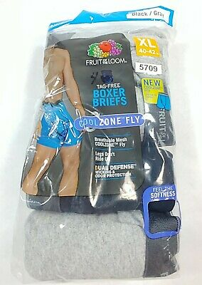 "Fruit Of The Loom Mens 4 Pack Tagfree Cool Zone Fly Boxer Briefs XL 40-42"" (5709"