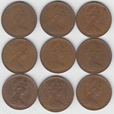 Old Half New Penny Coins lot of 9 as shown 1971 - 3,1973 -2 ,1974 -1,1976,1979-2