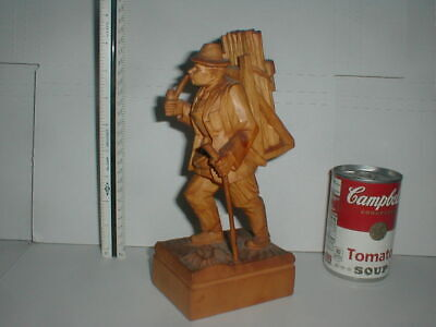"Hiker Smoking Pipe 9"" Carving Vtg Black Forest Carved Wood SIGNED Cane Backpack"