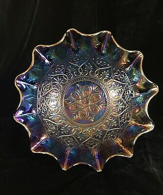 "FENTON CARNIVAL GLASS RARE HEARTS FLOWERS RUFFLED SCALLOPED 9"" BOWL 1905-1920's"
