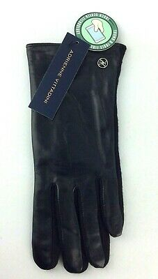 Adrienne Vittadini Ladies Gloves Size XL Black Leather Wool Blend Touch Screen