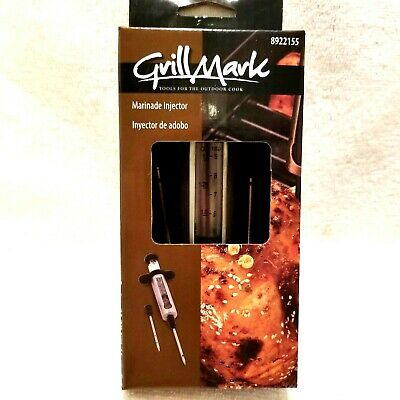 Grill mark Marinade injector 1.5 oz large and small needle stainless steel body