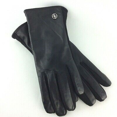Adrienne Vittadini Ladies Gloves Size S Black Leather Wool Blend Touch Screen