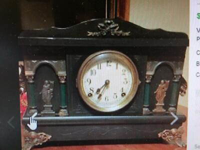 Antique 1900's Sessions Mantle Clock 8 Day 1/2 hr Strike Cathedral Gong w/ Key