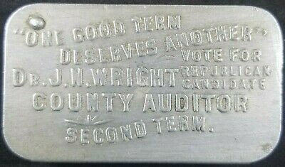 Dr J N Wright 1907 Licking County Auditor Campaign Vesta Match Safe Newark Ohio