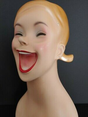 Mannequin Plastic Laughing Female Stand Dummy Head Wig Hat Jewelry Display