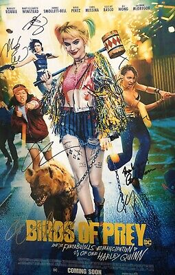 Margot Robbie +7 Multi-Signed Birds Of Prey 18x12 Photo AFTAL *SIGNED BY 8*