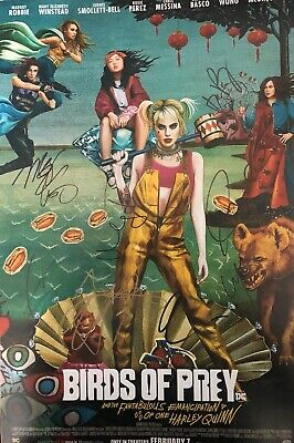 Margot Robbie +6 Multi-Signed Birds Of Prey 18x12 Photo AFTAL *SIGNED BY 7*