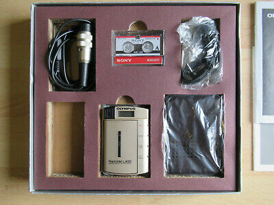 Olympus Pearlcorder L400 Kit Ultra Compact Microcassette Recorder, Excellent.
