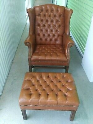 Mid-century Tufted Leather Chesterfield Wingback Library Chair & Ottoman
