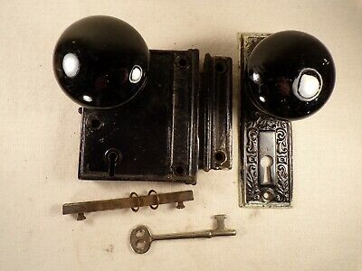 Antique Cast Iron Rim Lock Surface Mount Door Lock Set w/ Key