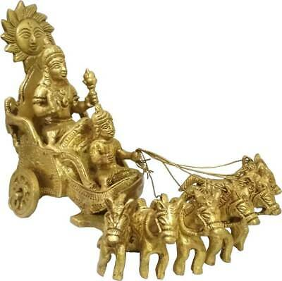 Antique The Lord Sun Chariot Surya Bhagwan Rath Brass Idol God Of Sun