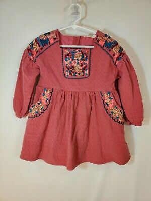 Louise Misha Girls Peach Embroidered Tunic Dress Top Size 6