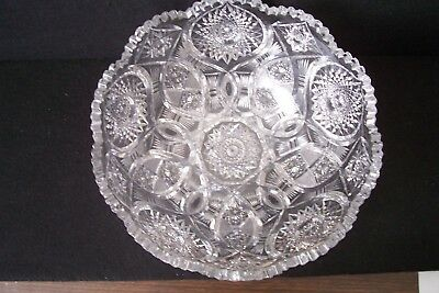 "Antique American Brilliant Cut Glass Bowl Very Large 12"" Diameter Perfect"