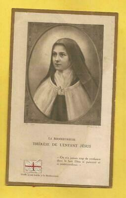 FRENCH   HOLY CARD BEATA  THERESE JESUS CHILD  2ND CLASS RELIC ex indumentis