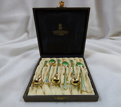 David Andersen Art Nouveau Guilloché Enamel Gold Wash Sterling Spoons